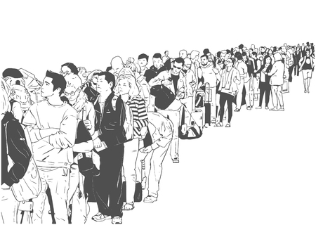 Illustration of people tourist waiting in line at airport public transport