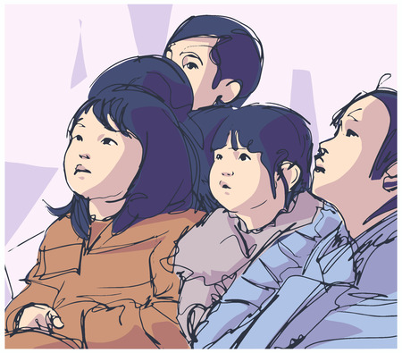 Illustration of group Japanese children sitting and watching looking upwards