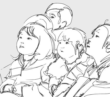 Illustration einer Gruppe japanischer Kinder, die sitzen und nach oben schauen