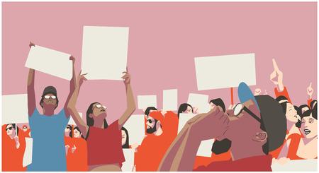 Ilustración de protesta pacífica multitud en color