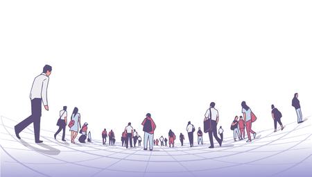 Ilustración de la multitud de la ciudad caminando sobre la plataforma desde una perspectiva de ángulo bajo