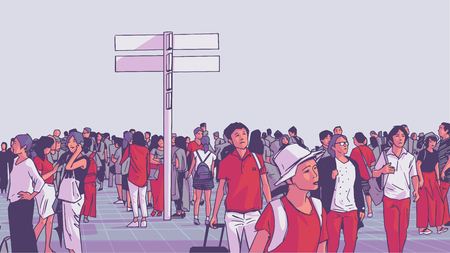 Illustration of crowded city public transport train station with tourists and locals commuting  イラスト・ベクター素材
