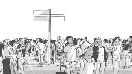 Ilustracja przedstawiająca zatłoczony dworzec miejski transportu publicznego z dojeżdżającymi turystami i mieszkańcami