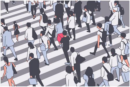 Illustration der geschäftigen Stadtmenge, die Zebra überquert