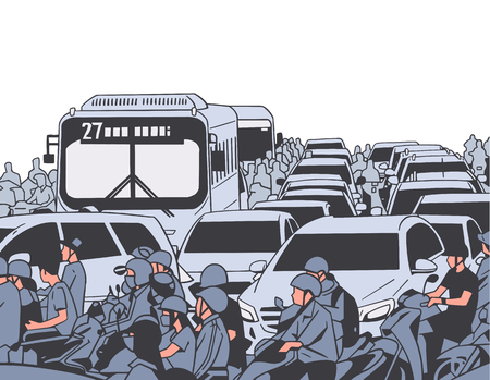 Illustration of busy rush hour traffic with motorcycles, cars, buses, public transport