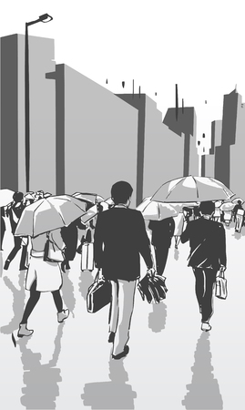 Detailed vector illustration of city urban crowd with umbrella in perspective