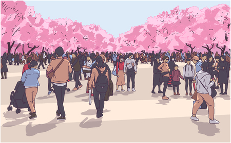 Vector illustration of cherry blossom viewing festival crowd in Ueno Park, Tokyo