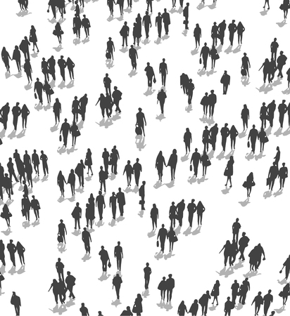 Vector Illustration der Menschenmenge, die aus der Perspektive der hohen Betrachtungswinkel geht