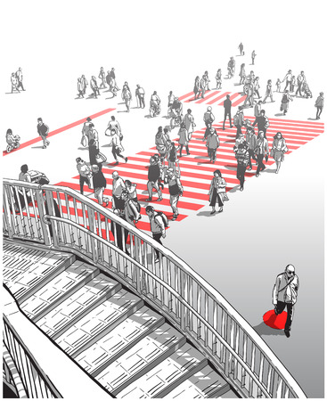 Illustration of Japanese city street with people crossing zebra during rush hour Illustration