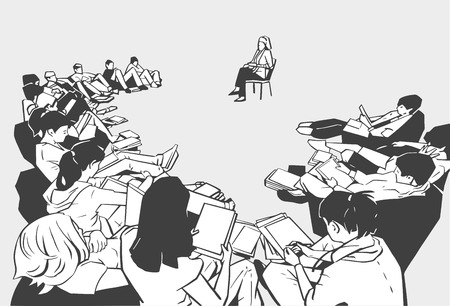 Illustration of students life drawing in school