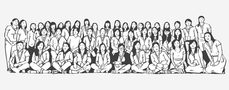 Stylized illustration of large group of people smiling and posing for a photograph in black and white Illustration