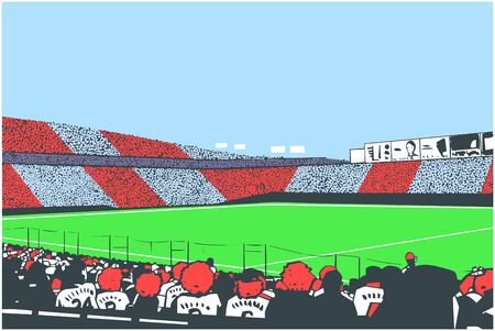Illustration of arena stadium crowd at sports event