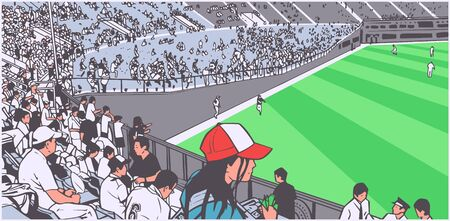 Illustration of arena stadium crowd at sports event