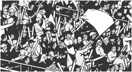 Illustration of arena stadium crowd at sports event waving blank flag Illustration