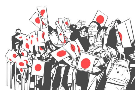 Illustration of Japanese crowd waving flags at golden week celebration Illustration