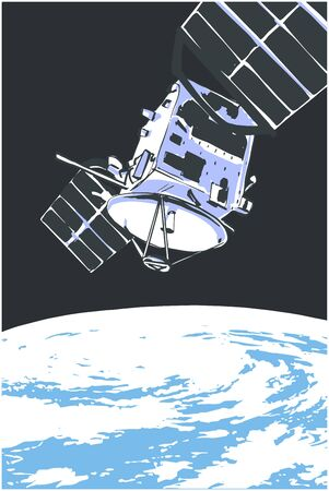 Illustration of satellite orbiting in space with planet Earth in the background