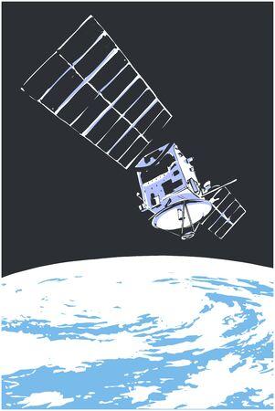 Illustration eines Satelliten im Weltraum mit dem Planeten Erde im Hintergrund