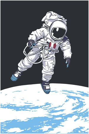 Illustration of astronaut floating in space with planet Earth in the background Illustration