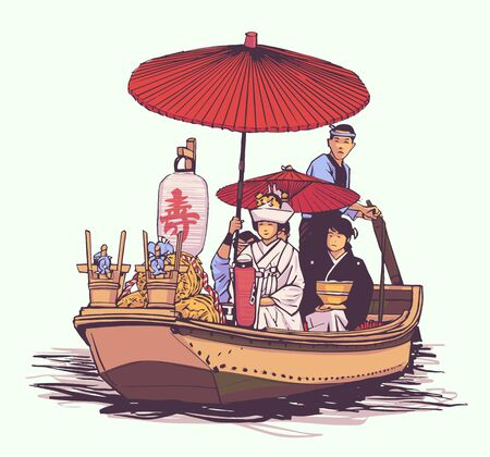 Illustration of traditional Japanese wedding, bridal wooden boat, Iris flower festival