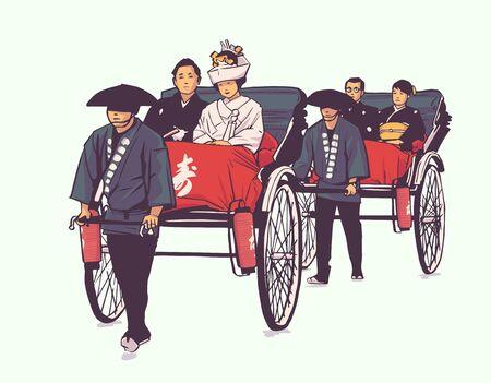 Illustration of traditional Japanese wedding, pulled rickshaw, groom and bride Illustration