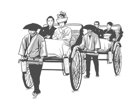 Illustration of traditional Japanese wedding, pulled rickshaw, groom and bride  イラスト・ベクター素材