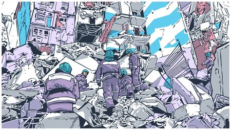 Illustration of fire fighters at collapsed building due to earthquake, natural disaster, explosion, fire