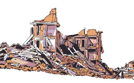 Illustration of  collapsed building due to earthquake, natural disaster, explosion, fire Illustration