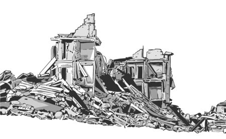 Illustration of  collapsed building due to earthquake, natural disaster, explosion, fire Ilustração