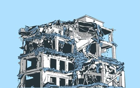 Illustration of  collapsed building due to earthquake, natural disaster, explosion, fire Banque d'images - 127290639