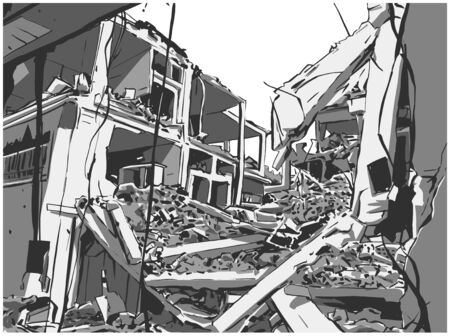 Illustration of  collapsed building due to earthquake, natural disaster, explosion, fire Banque d'images - 127290642