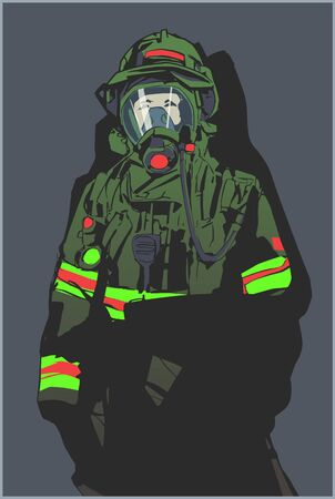 Stylized illustration print design of fire fighter in protective gear Illustration