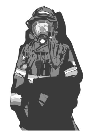 Stylized illustration print design of fire fighter in protective gear Foto de archivo - 132050347