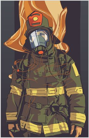 Stylized illustration print design of fire fighter in protective gear Vectores