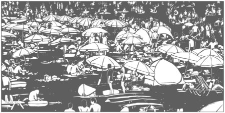 Illustration of crowded summer beach in black and white relief print style