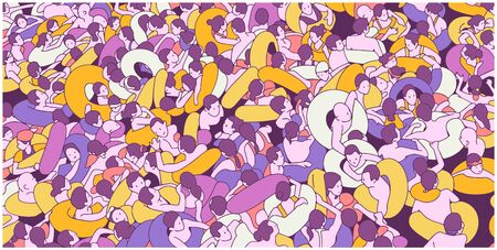 Detailed illustration of overly crowded swimming pool, beach people bathing and enjoying summer holiday