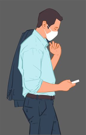 Illustration of young male office worker waiting for public transport heading to work wearing face mask in fear of infection disease Ilustração