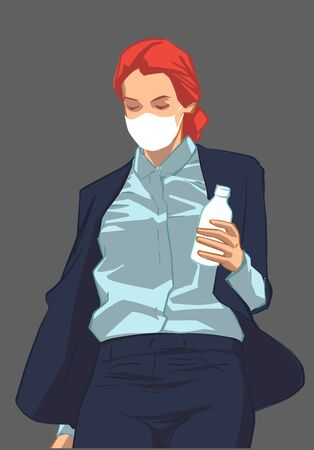 Isolated illustration of young female office worker wearing face mask in fear of infection disease