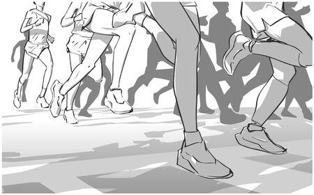 Illustration of marathon long short distance runners crowd people Illustration