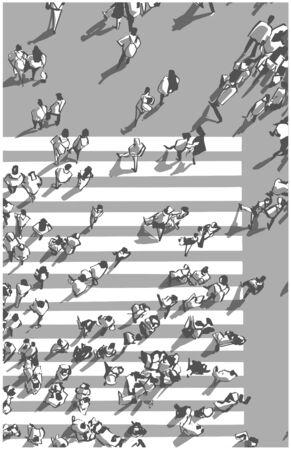 Illustration of city crowd crossing zebra