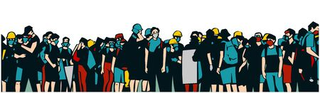 Illustration of large protesting crowd Banque d'images - 142041422