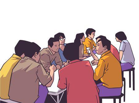 Illustration of group of people friends students conversation studying in pub bar restaurant izakaya