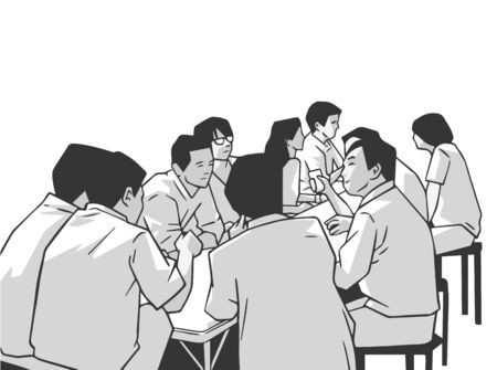 Illustration of group of people friends students conversation studying in pub bar restaurant izakaya