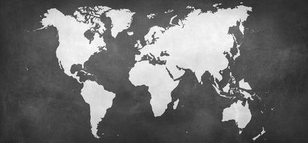 world map silhouette at grey background - Illustration 스톡 콘텐츠