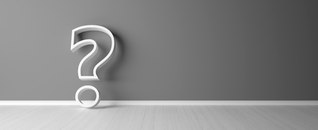 question mark in emty room - Illustration Stock Photo