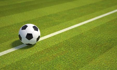 Soccer ball on football field - illustration Imagens