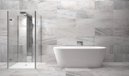 luxury bathroom with marble tiles - Illustration
