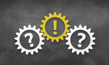 question mark with gears - Illustration