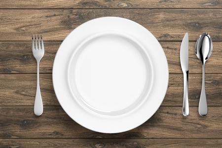 Biała porcelanowa zastawa stołowa ze srebrnymi sztućcami – ilustracja