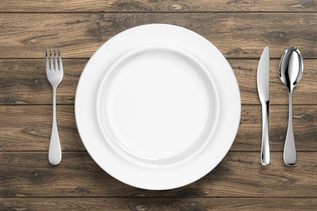white porcelain dinnerware with silver cutlery - Illustration