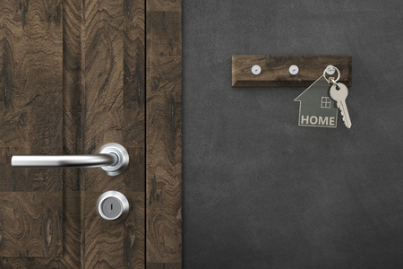 house key with keychains - Illustration Stock Photo